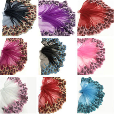 Peacock Tulle Lace Trim Ribbon Embroidery Feather Wedding Fabric Sewing -