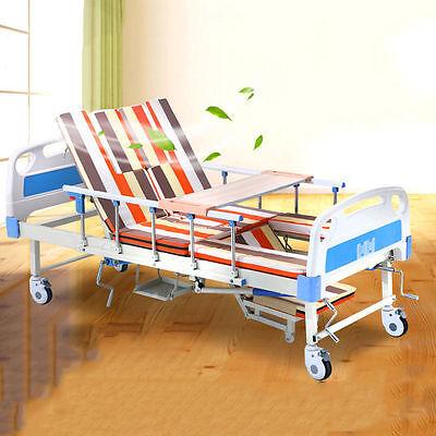 Medical Turnover Multifunction Adjustable Hospital Care Bed w/ Mattress Overlay