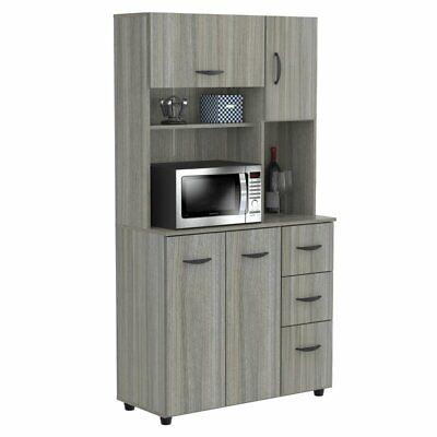Inval Kitchen Microwave Cabinet in Smoke Oak