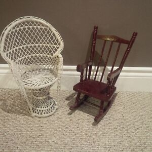 Pair of vintage mid sized dolls and chairs Kitchener / Waterloo Kitchener Area image 2