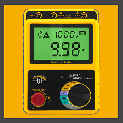 High Voltage 1000v Insulation Resistance Tester Megger Range 19.9gohm Ar907