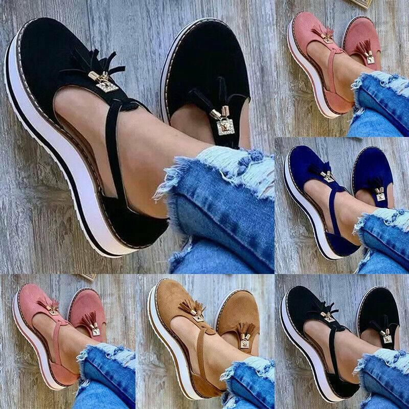 Womens Ladies Tassel Sandals T-Bar Ankle Strappy Platform Fl