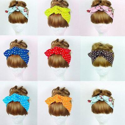 Vintage Women Knotted Big Bow Ribbon Floral Polka Dot Hair Headband Head Band - Polka Dot Headband