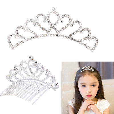 Child Tiara - Beautiful Kid Rhinestone Crystal Tiara Crown Flower Girl Hair Comb Wedding Party