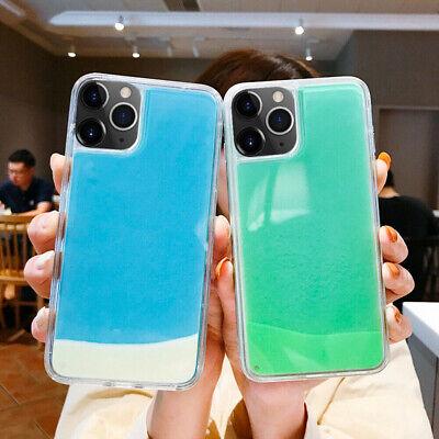 Glow Luminous Dynamic Neon Sand Quicksand Hybrid Phone Case Liquid Glitter Cover