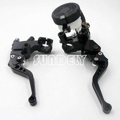 "7/8"" UNIVERSAL BLACK MOTORCYCLE BRAKE MASTER CYLINDER CLUTCH LEVER RESERVOIR"