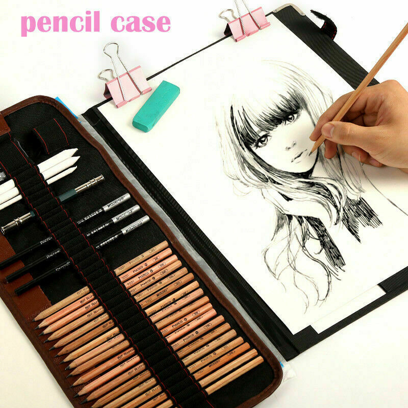 29pcs Drawing Art Supplies Sketch Pencils Kit Bag Art Craft