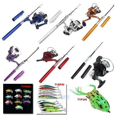 Mini Aluminum Portable Pen Shape Fishing Fish Rod Pole+Reel+Fishing Lures - Mini Fishing Rod