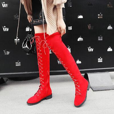 Overknee-Strap-Frauen Stiefel lange Damen Stiefel Flach Schuhe Größe 33-46  - Länge Frauen Flache Stiefel