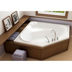 Oceania VA55 Vallon Deck Mount Corner Bathtub Comfort Air White