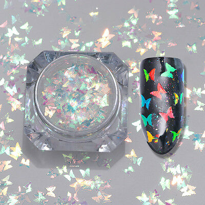 BORN PRETTY  Butterfly Nail Art Flakes Glitter Sequins Sparkle Paillette Tips