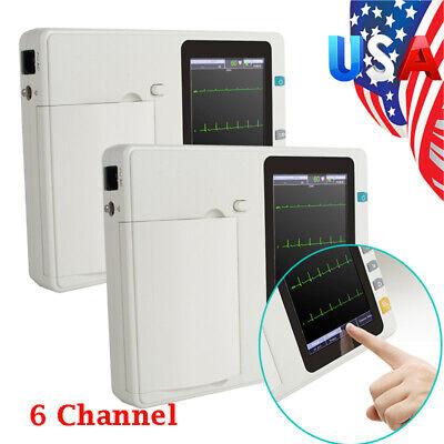 2pcs Portable 6-channel Electrocardiograph Ecgekg Machine Interpretation Health