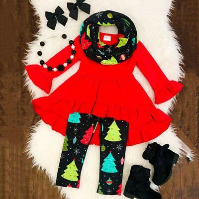 US Christmas Toddler Kids Baby Girl Clothes Ruffle Dress Tops Pants 3Pcs Outfits (Toddler Girl Spring Clothes)