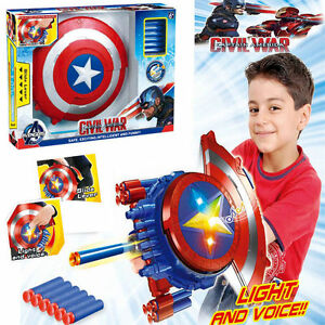 CIVIL WAR CAPTAIN AMERICA LED & MUSIC BLASTER REVEAL SHIELD NERF KID COSPLAY TOY