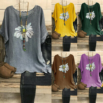 UK Womens Oversized Daisy Pullover Tops Ladies Summer Cotton Linen Blouse Shirts