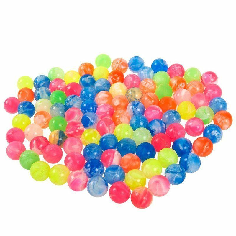 100-Count Mini Super Bouncy Balls Party Favors Colorful Marble Design Superballs