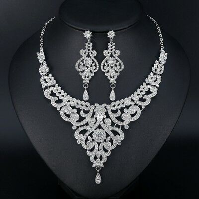 Mecresh Fashion African Jewelry Sets for Women Leaf Crystal Necklace Earring Set