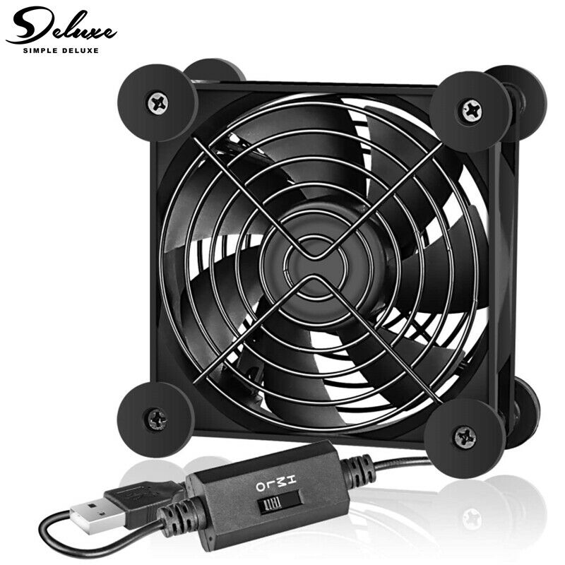 Simple Deluxe 80mm Quiet USB mini Fans w/ Multi-Speed Controller for Receiver