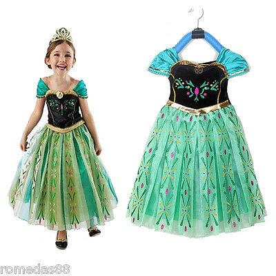 Lovely Frozen Princess Anna Cosplay Dress with Crown Wand Braid - Anna Crown Frozen