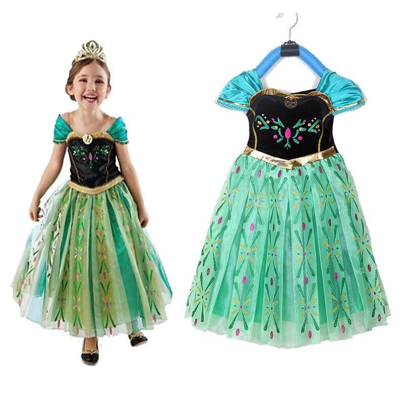 Lovely Princess Anna Cosplay Dress with Crown Wand Braid Cosplay Set
