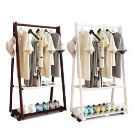 2 Tiers Wood Clothes Rail Stand Wardrobe Shoe Shelves Storage Rack Unit 2 Colors H450
