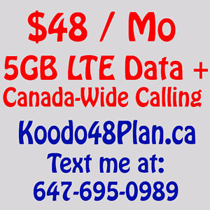 Koodo $48 (Telus network) Unlimited 5GB LTE Plans - Easy