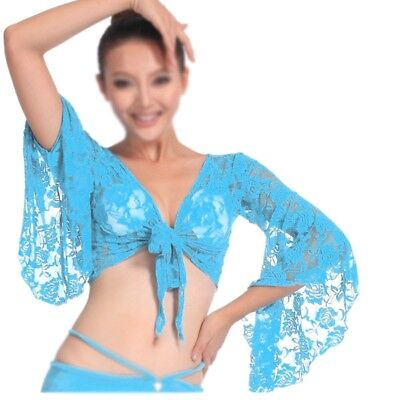Sexy Bauchtanz Tanz Spitze Bluse Oberteile BH Tanzkleidung Kostueme eisblau Y6I4