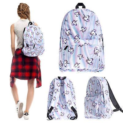 3D Unicorn Printing Multi Color Rainbow Girl Backpack School Bag Travel Rucksack