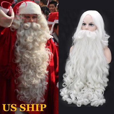 US!Christmas Adult Santa Claus Curly Long Wig Beard Set Fancy Dress Cosplay Prop](White Beard Wig)