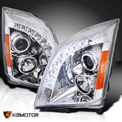 For 2008-2014 Cadillac CTS LED DRL Strip Projector Headlights Parking Lamps Pair