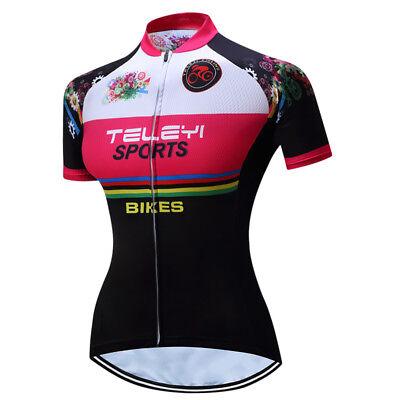 Gear-Black TELEYI Women Run Cycling Jersey Bike Short Sleeve Clothing Shirts