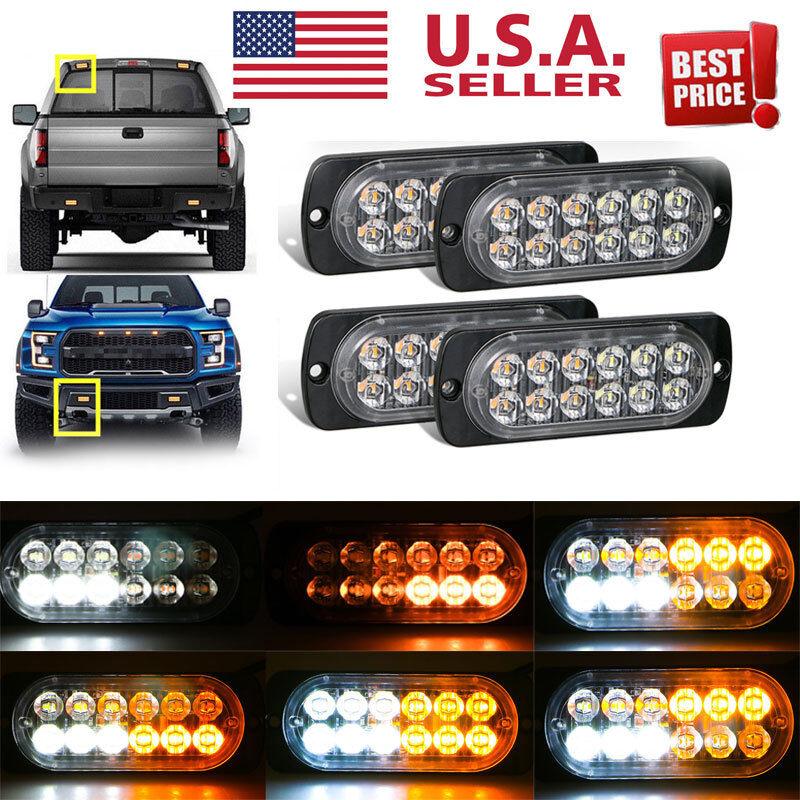 4 x12 LED Amber Truck Car Emergency Beacon Warning Hazard Flash Strobe Light Bar