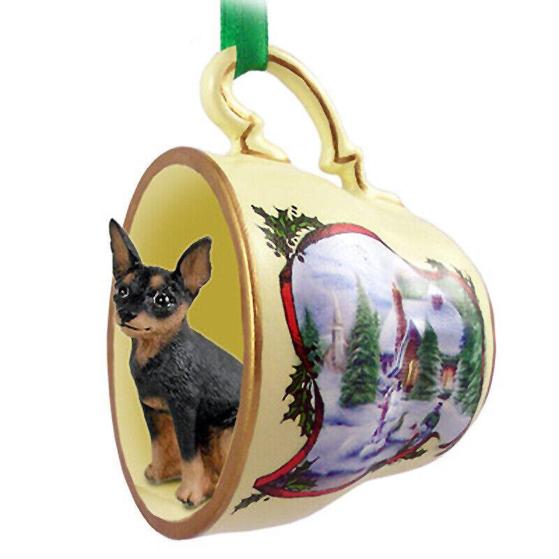 Miniature Pinscher Christmas Ornament Teacup Black/Tan
