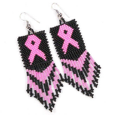 NEW BLACK PINK RIBBON BREAST CANCER AWARENESS HANDMADE BEADED EARRINGS (Black Pink Breast)
