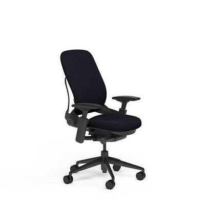 New Large Steelcase Leap Plus Adjustable Desk Chair - Buzz2 Black Fabric 500 Lb