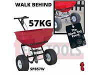 SEALEY SPB57W BROADCAST SPREADER 57KG WALK BEHIND SALT GRIT SAND DE-ICER