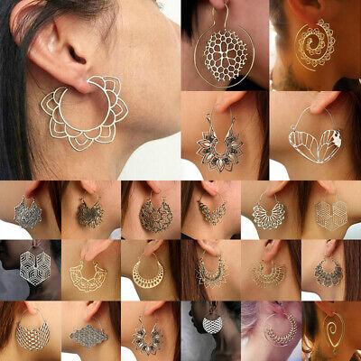 Boho Women Jewelry Holiday Gypsy Tribal Ethnic Mandala Hollow Hoop Earrings Gift - Hollow Womens Earring