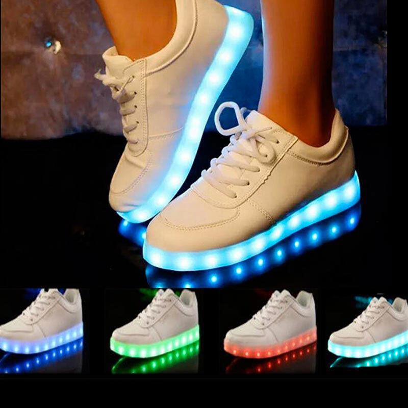 Sneaker con luci led scarpe sportive unisex per bambini e ragazzi ricarica usb