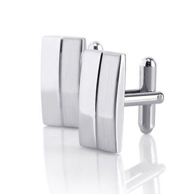 Silver Retangular Stainless Steel Mens Wedding Gift Cuff Links Cufflinks Attire (Wedding Cufflinks)