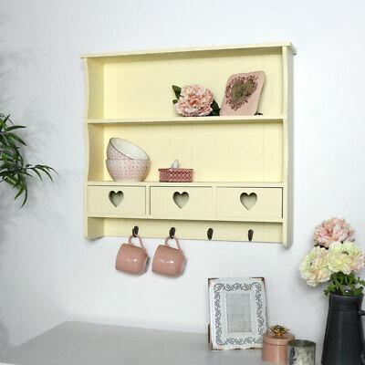 Cream wall shelving unit vintage French 2 shelf bedroom bathroom hallway storage