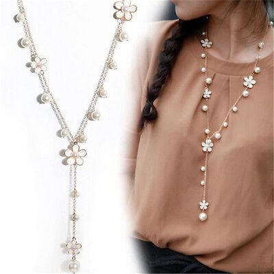 Fashion Women Pearl Flower Sweater Chain Long Pendant Necklace New Jewelry New