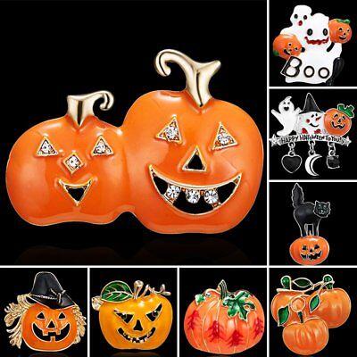 Fashion Halloween Crystal Rhinestone Enamel Pumpkin Brooch Pin Women Jewelry - Halloween Rhinestone Jewelry