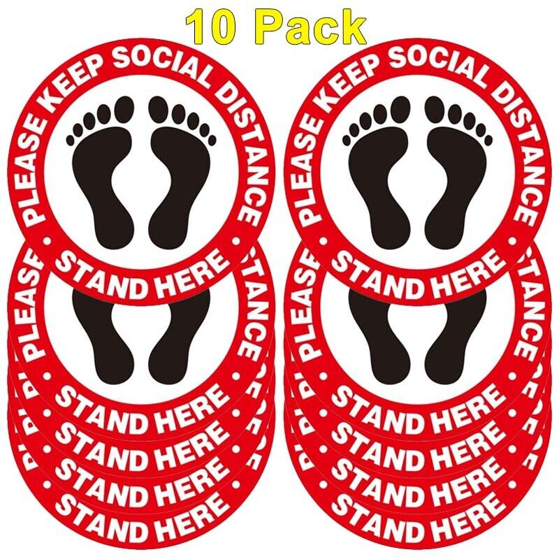 Social Distancing Stickers - 10 Pack Safety Floor Decal - Maintain 6ft Distance