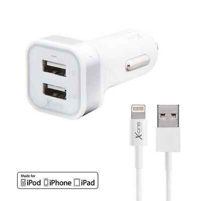Cargador Coche conector USB 2.1A con Cable Lightning MFI