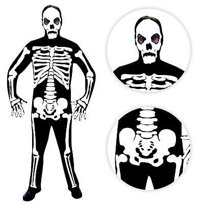 Herren Herr Knochen Skelett Halloween Overall Maske Kostüm + Handschuhe Monster