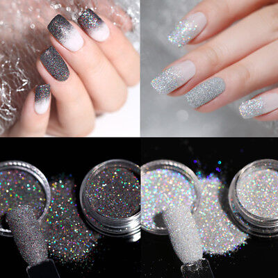 2Boxes 2G Nail Art Holographic Laser Glitter Powder Dust Gray Holo Shining Tips - Art Boxes