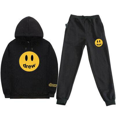 2Pcs Unisex Justin Bieber Drew House Fashion Sport Sweater+Pants Tracksuit Set