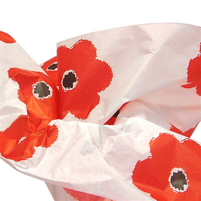 Bright Deep Red-Orange Poppies Flowers Tissue Paper Gift Wrapping 15