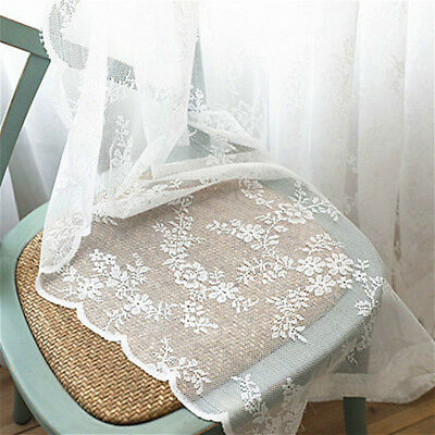 Lace Door Curtain (French Mesh Net Curtain Lace Tulle Voile Door Window Panel Drape Divider)