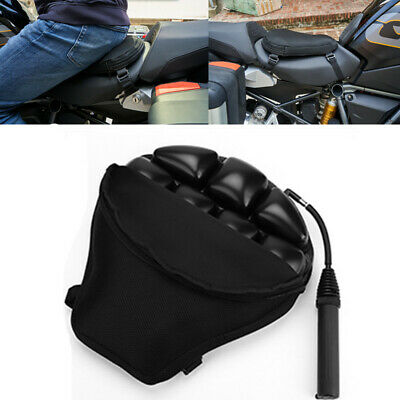 Black Air Pad Motorcycle Seat Cushion Breathable Mesh Cover Large 15